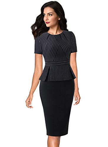 Black White Pencil Pinstripe - VFSHOW Womens Black and White Pinstripe Pleated Crew Neck Peplum Work Business Office Sheath Dress 2755 BLK XL