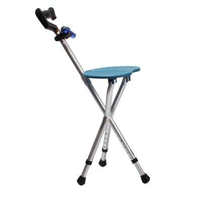 折りたたみ式椅子三角杖スツール老齢杖歩行補助具アルミ松葉杖軽合金茶色 B07F26GVKT Blue Blue