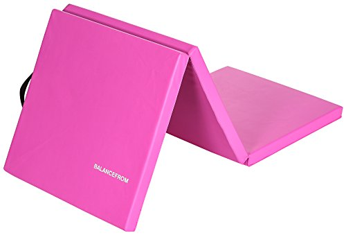 BalanceFrom 2 Thick Tri-Fold Folding Exercise Mat with Carrying Handles for MMA, Gymnastics and Home Gym Protective Flooring (Pink)