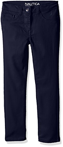 Nautica Girls' Five Pocket Stretch Sateen Pants