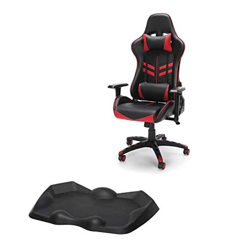 OFM 2 Piece Gaming Chair and Chair Mat in Black and Red Uncategorized