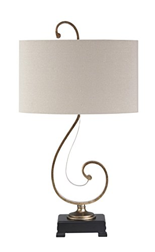 Ashley Furniture Signature Design - Tahir Metal Table Lamp with Oval Drum Shade - Elegant Swirls - Antique Silver Finish