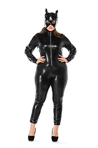 Women Plus Size Halloween Accessory Jumpsuits Catwoman Cosplay Tight Costumes Adult (XXX-Large)]()