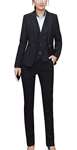 Women's Three Pieces Office Lady Stripe Blazer Business Suit Set Women Suits Work Skirt/Pant,Vest Jacket (BlackKZ-9006, M)