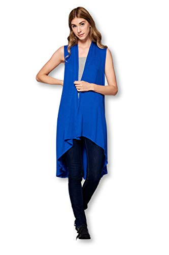 Sleeveless Long Solid Soft Bamboo Cardigan Vest Sweater for Women -Made in USA (Large, Royal Blue)