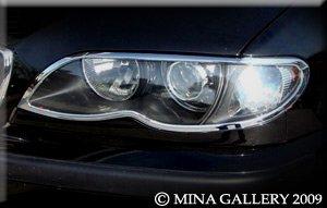 Mina Gallery Chrome headlight trim set for BMW 745 7 Series 2002 2003 2004 2005
