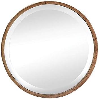Amazon.com: Wood Frame Round Wall Mirror: Home & Kitchen