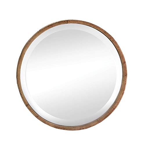 Wood Frame Round Wall Mirror by Accent Plus (Image #3)