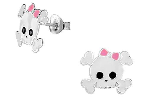 Hypoallergenic Sterling Silver White & Pink Girly Skull & Crossbones Stud Earrings for Kids (Nickel Free)