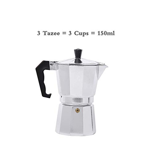 kbxstart Italian Espresso Coffee Makers Top Moka Cafeteira Expresso Percolator Pot 3cup/6cup/9cup/12cup Turkish Stovetop Coffee Maker (3 Cup)