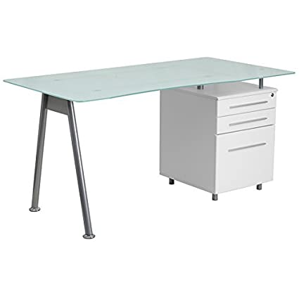 cheaper 94ae3 914d5 Flash Furniture White Computer Desk with Glass Top and Three Drawer Pedestal
