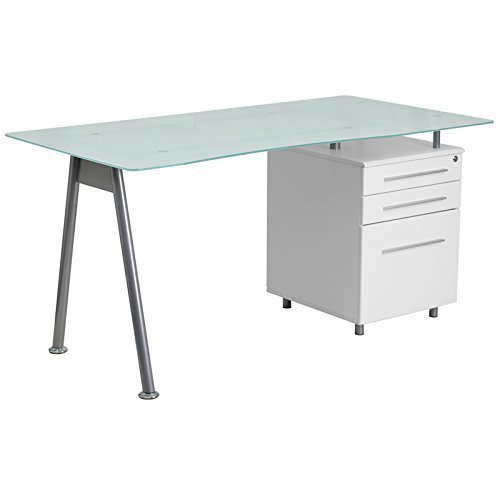 Flash Furniture White Computer Desk with Glass Top and Three Drawer Pedestal (Tops Furniture Glass)