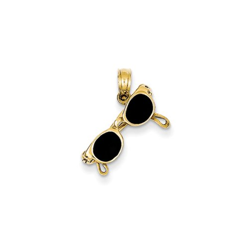 3-D Black Enameled Moveable Sunglasses Pendant In 14 Karat Yellow Gold