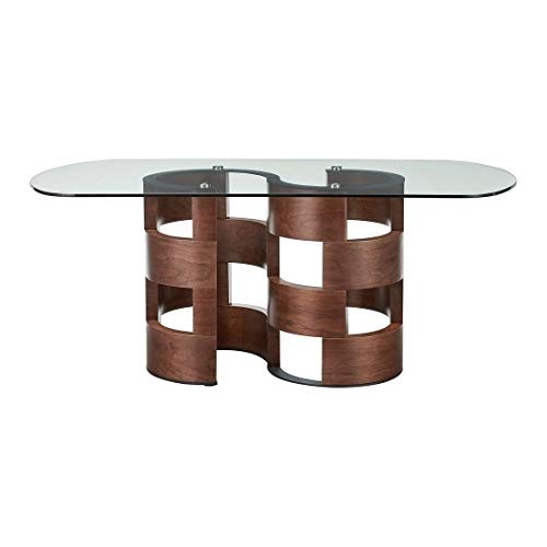 Overstock Luca Home Walnut-Finish Wood/Glass Art Deco Dining Table Art Deco Walnut Table