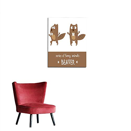 - longbuyer Wall Paper Funny Beaver Drawn in Baby Style Isolated on White Background Mural 32