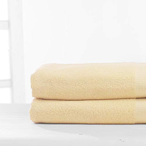 White Spindle – Beige Large Bath Towel Set | 100% Cotton | 2 Set (35 x 70 inches) | Plush & Soft Bath Sheet Set | Machine Wash | Absorbent | Perfect for Spa, Salons and Hotel/Motels | Made in India