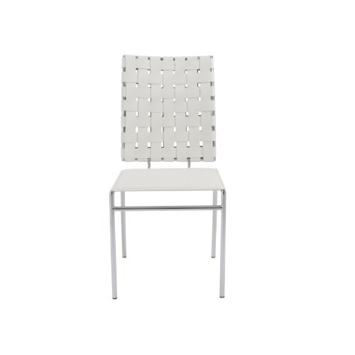 - Euro Style Carina Side Chair, White Leather, Set of 4
