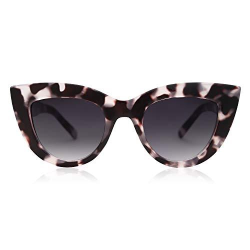 SOJOS Retro Vintage Cateye Sunglasses for Women Plastic Frame Mirrored Lens SJ2939 (A4 Black Tortoise Frame/Grey Lens, Multicoloured)