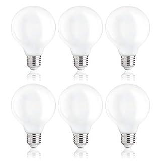 FLSNT 4000K Cool White G25 Dimmable LED Globe Edison Bulbs,4W (40W Equivalent),E26 Medium Base,450LM,CRI80,Milky Glass Finishing - 6 Pack