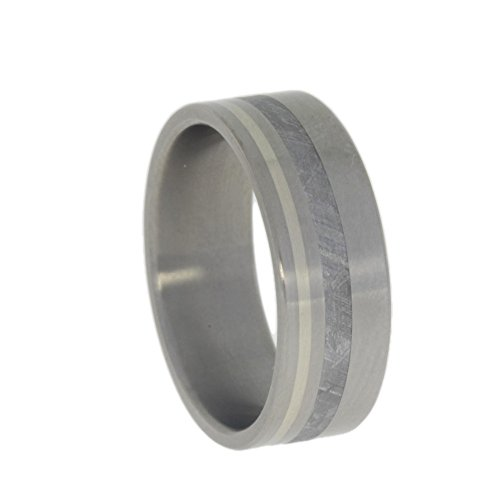 Gibeon Meteorite, 14k White Gold 8mm Comfort Fit Matte Titanium Band, Size 7 by The Men's Jewelry Store (Unisex Jewelry)