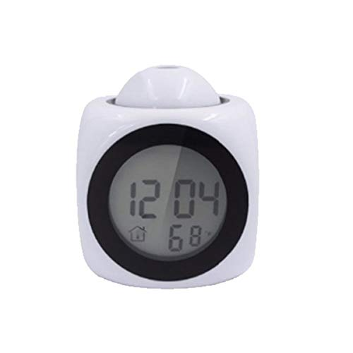 Digital LCD Projection Desk Alarm Clock Voice Prompt Thermometer with Snooze Function (Color : White) -