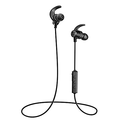 TaoTronics Bluetooth Headphones, Sweatproof Wireless In Ear Earbuds, Sports Magnetic Earphones with Built in Mic (IPX5 Splash Proof Rating, aptX Stereo, Up to 7 Hours of Talk Time, Ceramic (Taotronics Bluetooth Headphones)