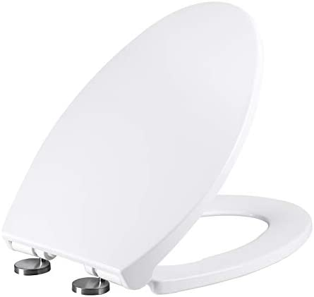 MUYE Elongated Toilet Seat Quiet-Close Never Loosen Quick Release White Toilet Seats Easy Installation No Slamming
