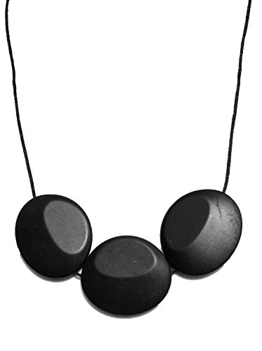 Peacemaker Jewelry Tri-Stone Silicone Teething Necklace (Black)