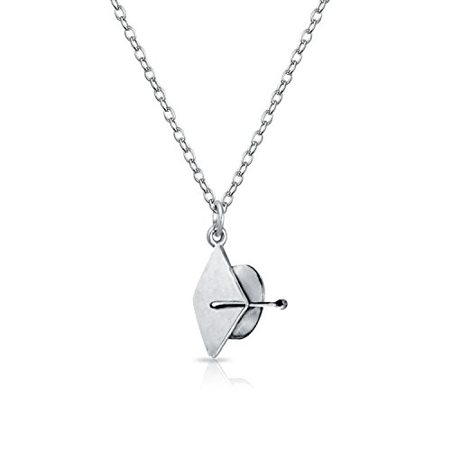 Tiny Graduation Cap Hat Engravable Charm Pendant Necklace For Graduation For Women For Teen 925 Sterling Silver ()