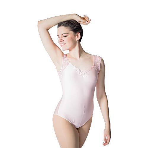 HDW DANCE Pink Women Ballet Dance Leotard Bodysuit Sleeveless Nylon Lycra and Lace (L, Pale Pink) ()