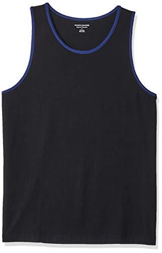 Blue Mens Ringer - Amazon Essentials Men's Regular-Fit Ringer Tank Top, Black/Blue, X-Large