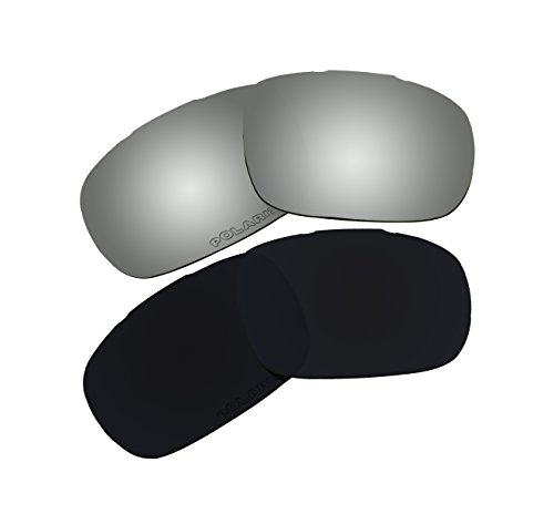2 Pairs Polarized Lenses Replacement Black & Black Iridium for Oakley Twoface - Oo9189 05