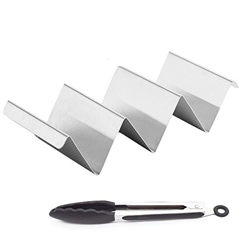 (Taco Holder Stand, Woreach 2Pcs Stainless Steel Taco Shell Holder - For Restaurant & Home Use, BONUS Serving BBQ)