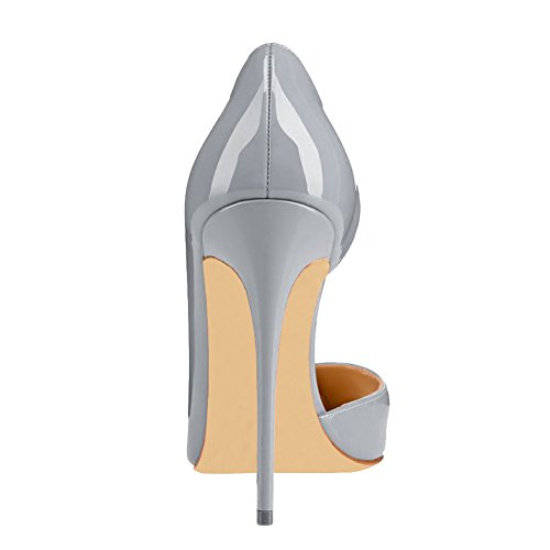 Damen Dame Pumps Slip 35 Y Schuhe Dress Toe 018 Grau Pointed High MERUMOTE 46 Lackleder Heel Designer EU On dzCtqxPRw