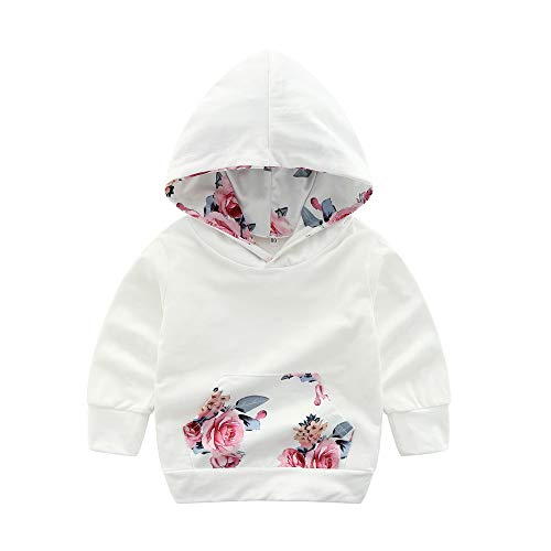 Oldeagle Toddler Kids Baby Girls Long Sleeve Floral Print Hoodie Pullover Sweatshirt Tops Clothes Outfits (12-18 Months, White) - Floral Girls Pullover