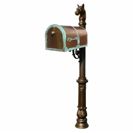Provincial Collection Brass Mailbox in Antique Brass Patina with decorative Lewiston post, #7 Ornate base and #1 Horsehead finial in Bronze