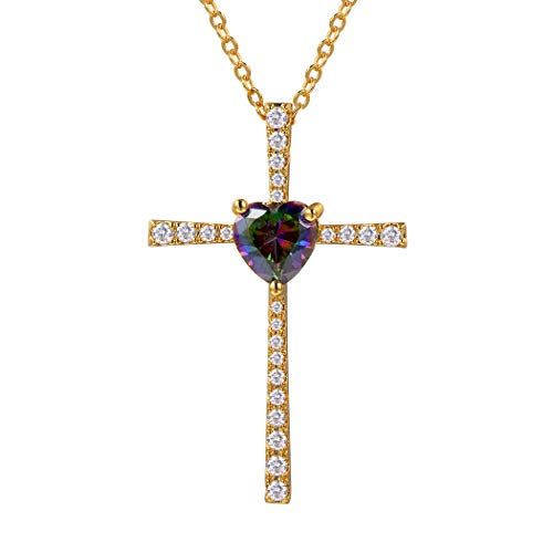 Suplight Dainty Cross Necklace Mystic Topaz Minimalist 18K Gold Plated Crystal Heart Cross Pendant Necklace