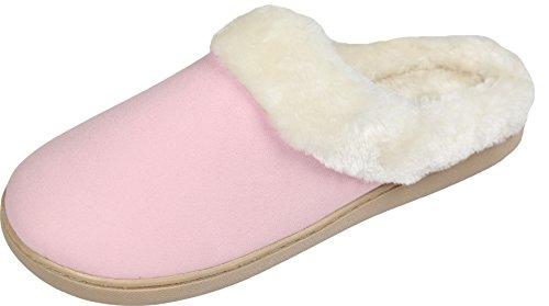 LUXEHOME+Women%27s+Cozy+Fleece+House+Footwear%2FSlippers%281-08%29+%28XL%2F8-9+US%2C+Pink%29