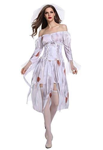 Honeystore Ghost Bride Demon Costume Vampire Fancy Dress Sexy Poison Ivy Costume 1849 -