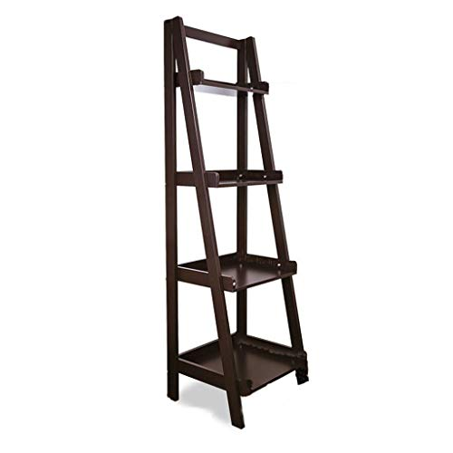 Shelves Kitchen Bathroom 4 Tier Shelf Shelves Bookshelf Bookcase Leaning Storage Shelf Unit White Adjustable Height Storage Rack Storage & Organization (Color : Brown)