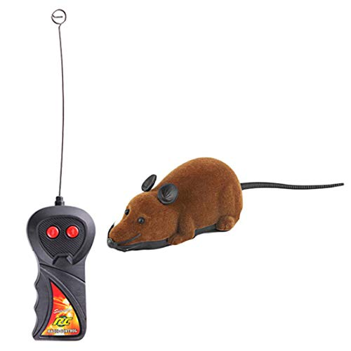 BU-Beauty Wireless RC Rat Mice Cat Toys Remote Control Mouse Funny Playing Novelty Mouse Toys for Cat Dog Pet-Brown ()