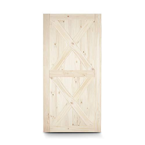 BELLEZE 42″ x 84″ inches Modern Sliding Barn Door Natural Wood Pine Unfinished Single Door, Double X