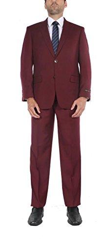 P&L Men's 8-Colors Two-Piece Classic Fit Office 2 Button Suit Jacket & Flat Pants Set