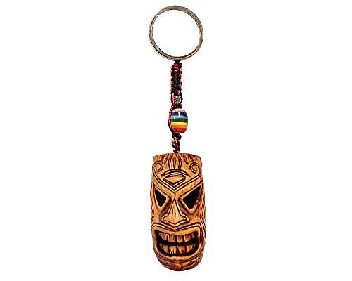 Kanaloa Polynesian Tiki Head Mask Handpainted Figurine Dangle Handmade Keychain Multicolored Braided Macramé Bead Silver Keyring Hanging Ornament Charm Car Bag ()