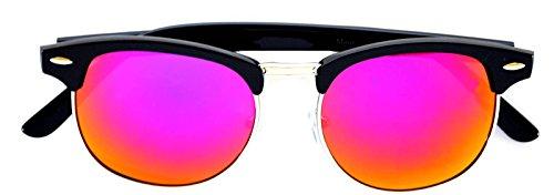 Retro Classic Wayfarer Sunglasses Metal Half Frame With Colored Lens Uv 400 (Mirror-Sil-Purple, Colored) (Sunglasses Wayfarer Retro Classic)