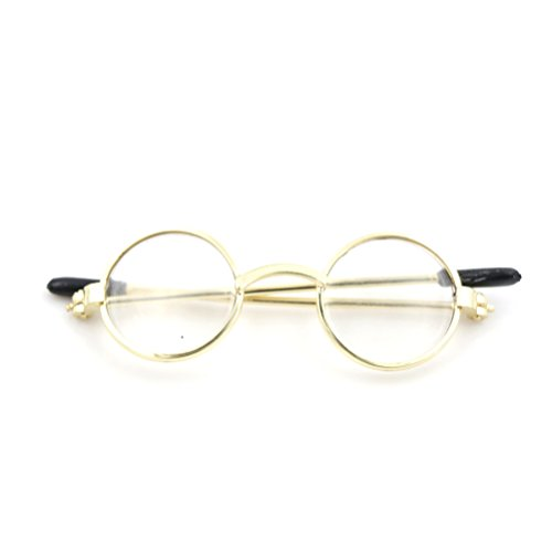 Frame Eyeglass Alloy (CoscosX 1 Set Doll Eyeglasses Round Frame Lensless Retro Cool Doll Glasses Cute Rimmed Eyeglasses Doll Sunglasses for 1/6 30cm BJD Doll Accessories Girl Christmas Birthday Gift,Gold)