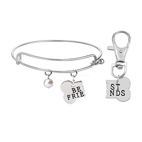 H.ZBRUJ Best Friends Necklace Dog Bone Shaped Keychain BFF Jewelry Dog Gift 2pcs/Set Stainless Steel (Best Friends Bangle Silver)