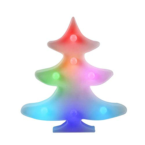 WHATOOK Christmas Tree Night Light LED Lamp Decorative Marquee Signs Letter Flamingo Night Light Wall Decoration for Living Room,Bedroom,Home, Christmas (Battery Operated) (Christmas Tree -
