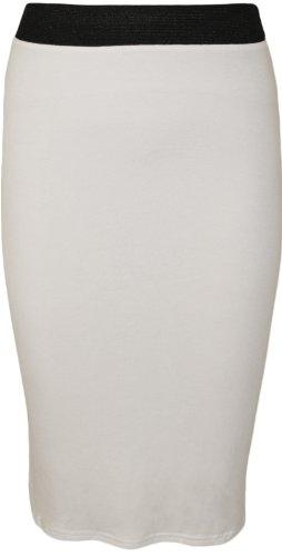 Jupes 42 Tailles 36 Jupe Midi WearAll Uni Taille Femmes Blanc lastique Droite RqRfYv