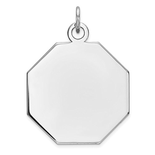ICE CARATS 925 Sterling Silver Engraveable Octagon Front Back Disc Pendant Charm Necklace Engravable Octagonal Fine Jewelry Ideal Mothers Day Gifts For Mom Women Gift Set From Heart